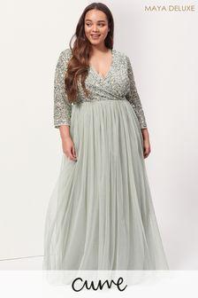Maya Curve V-Neck Long Sleeve Maxi Dress