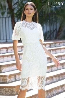 Lipsy VIP Lace Puff Sleeve Midi Dress