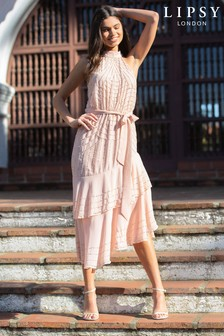 Lipsy VIP Halter Fit and Flare Prom Dress