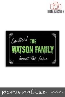 Personalised Halloween Family Name Caution Door Mat by Instajunction