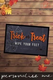 Personalised Halloween Trick Or Treat Wipe Your Feet Door Mat by Instajunction