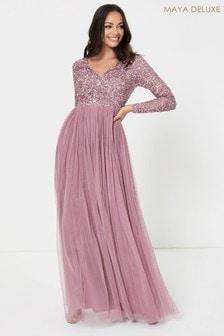 Maya V Neck Long Sleeve Sequin Maxi Dress
