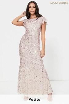 Maya Flutter Sleeve All Over Sequin Maxi Dress