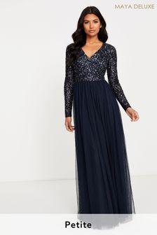 Maya Petite V Neck Long Sleeve Sequin Maxi Dress