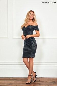Sistaglam Lurex Bardot Midi Dress