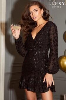 Lipsy Long Sleeve Printed Mini Dress