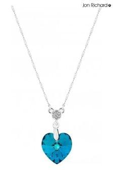 Jon Richard Blue Heart Short Pendant Necklace