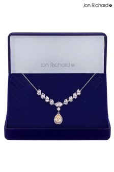 Jon Richard Rhodium Plated Cubic Zirconia Yellow Pear Drop Necklace - Gift Boxed