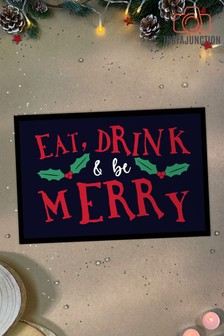 Instajunction Eat , Drink And Be Merry Christmas Door Mat