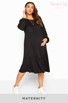 Bump It Up Maternity Broderie Anglaise Sleeve Tiered Dress