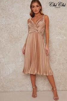Chi Chi London Tayla Pleated Midi Dress