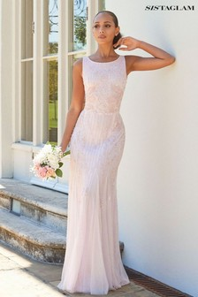 Sistaglam Gracey High Neck Maxi Dress with Mesh Inserts