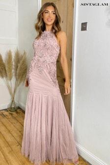 Sistaglam Embellished Halterneck Maxi Dress