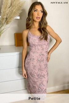 Sistaglam Cami Cowl Neck Embellished Midi Dress