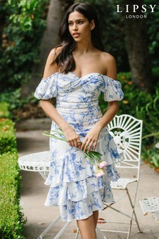 Lipsy Ruffle Hem Bardot Midi Dress