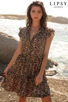 Lipsy Sleeveless Tiered Shirt Dress