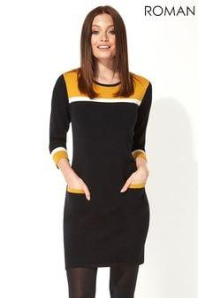 Roman Originals Colour Block Knitted Dress