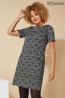 Roman Originals Baroque Flocking Detail Shift Dress