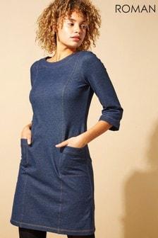 Roman Originals Top Stitch Detail Denim Shift Dress