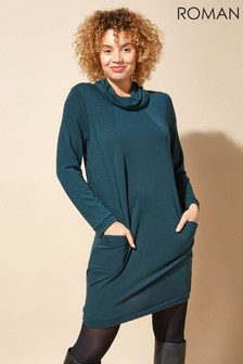 Roman Long Sleeve Cowl Neck Tunic Dress