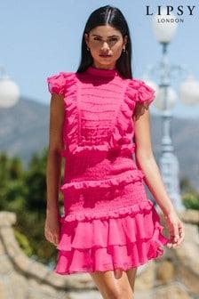 Lipsy Shirred Ruffle Skater Dress