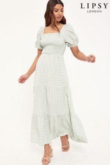 Lipsy Shirred Puff Sleeve Midi Dress