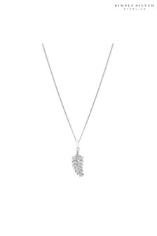 Simply Silver Feather Pendant Necklace