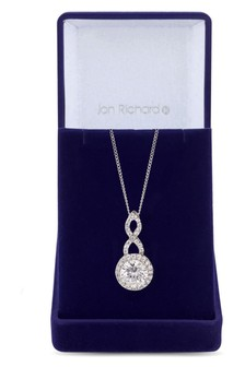 Jon Richard Cubic Zirconia Halo Infinity Crystal Pendant in a Gift Box