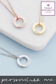 Personalised Mini Ring Necklace by Treat Republic