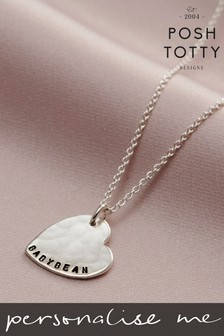 Personalised Hammered Heart Name Necklace by Posh Totty