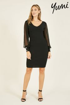 Yumi Knitted Bodycon Dress With Chiffon Sleeves