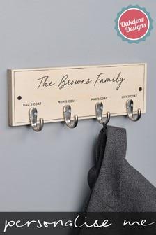Personalised Four Hook Family Coat Hook by Oakdene Designs