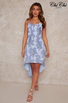Chi Chi London Jacquard Dip Hem Dress In Blue