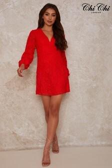 Chi Chi London Crochet Long Sleeve Mini Dress In Coral