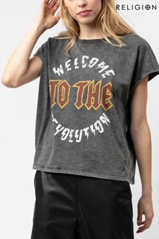 Religion Slogan Tee In Washed Black Sustainable Cotton