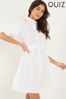 Quiz Puff Sleeve Shirt Dress