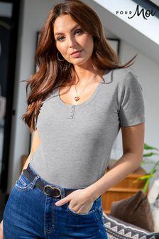 Pour Moi Isla Button Front Henley Rib T-Shirt