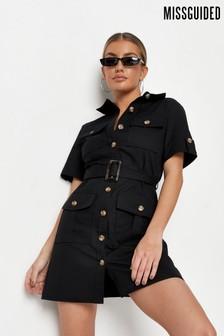 Missguided Utility Pocket Belted Shirt Dress