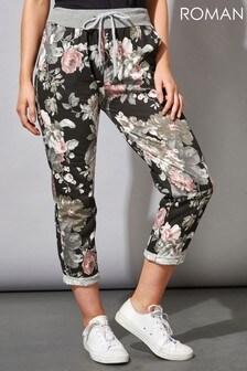 Roman Floral Print Roll Hem Lounge Pants