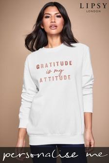 Personalised Lipsy Gratitude Is My Attitude Women's Sweatshirt by Instajunction