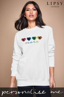 Personalised Lipsy Love More In Hearts Women's Sweatshirt by Instajunction