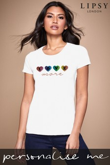 Personalised Lipsy Love More In Hearts Women's T-Shirt by Instajunction