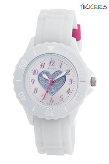 Tikkers Silicone Strap Silver Dial with Glitter Heart  Watch
