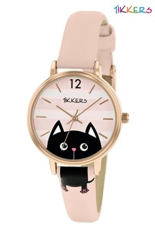 Tikkers PU Strap Dial with Stripes and Pink Dog Watch