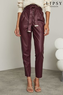 Lipsy Faux Leather Paper Bag Trouser