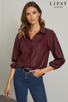 Lipsy Faux Leather 3/4 Sleeve Shirt