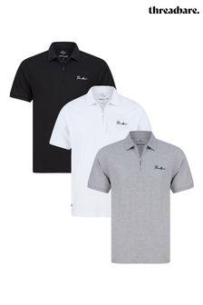 Threadbare 3 Pack Script Cotton Polo Shirts