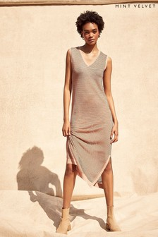 Mint Velvet Gold Stripe Knitted Midi Dress