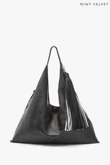 Mint Velvet Black Lana Slouchy Leather Bag