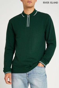 River Island Green Dark Slim Jacquard Placket Polo Shirt